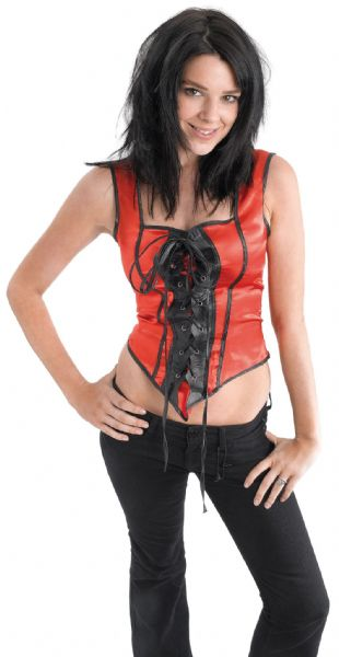 Ladies Corset Red/Black Costume Moulin Rouge Can Can French Fancy Dress